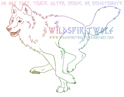 Joyful Running Wolf Sketch by WildSpiritWolf