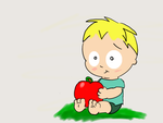 Butters with a giant apple by madamcoathanger