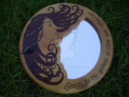 Pyrography goddess mirror by WOODEWYTCH