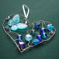 Blue Heart with butterfly SOLD by SneddoniaDesigns