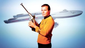 William Shatner Captain Kirk and The Enterprise by Dave-Daring