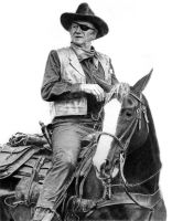 John Wayne as Rooster Cogburn by hartr