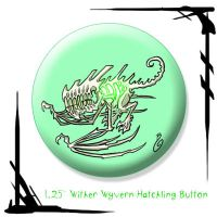 Wither Wyvern Hatchling Button by BunnyBennett