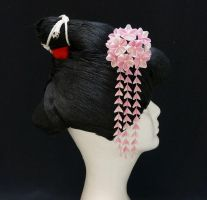 Luminescent Pink Plum Blossoms Kanzashi 170 by japanesesilkflowers