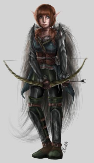 Female Elf Archer Character Concept by Charjuku
