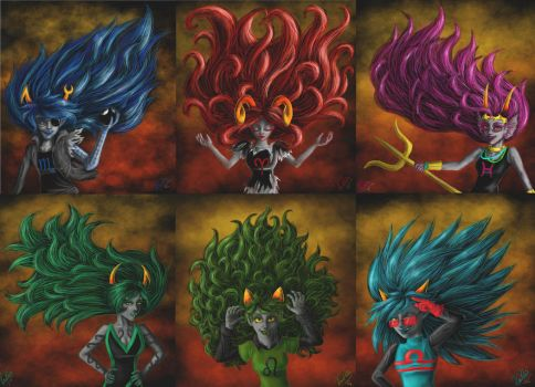 Troll girls with long hair by Vanthica