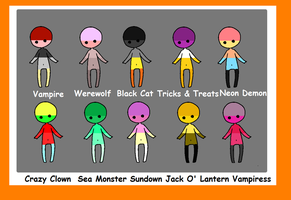 Halloween Palettes CLOSED by coolkatadopts