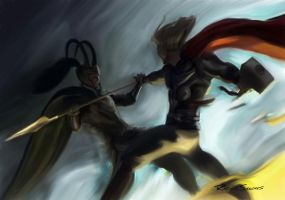 Thor VS Loki by RafaelSanches