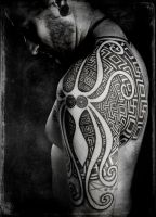 Minoan squid and greek swastikas, pro photo by Meatshop-Tattoo