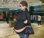 At the mall by PreggoBellyLover