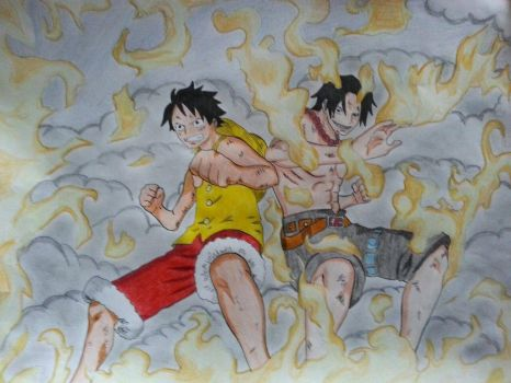 Luffy and Ace Tag Team by Shihna-chan
