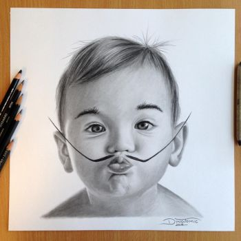 Baby Dali Pencil Drawing by AtomiccircuS