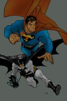 Superman and Batman by commanderlewis