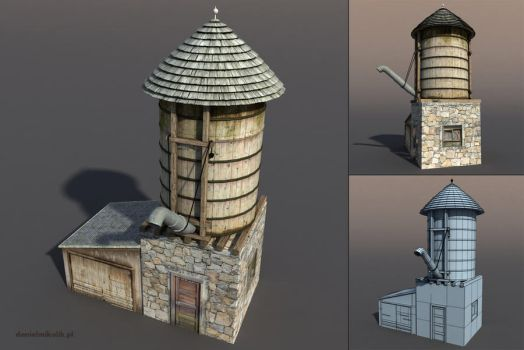 Water Tank Low poly 3d Model by Cerebrate