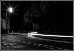 Traffic Trails black and white. by chivt800