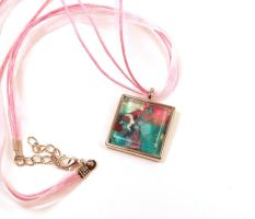 Melted Crayon Necklace Teal Pink by annjepsen