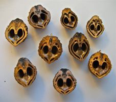 Carved Walnut pendants in the works by LizPotterArt