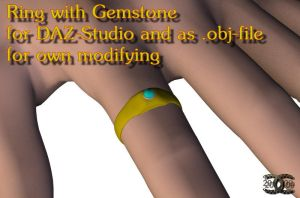 Ring w. Gemstone f. DAZ-Studio by ancestorsrelic