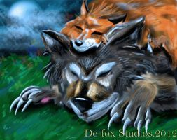 Wolf and the Fox by demonfox14