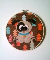 Playful Puppy Embroidery Hoop by msmegas