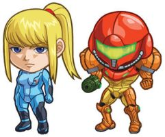 Metroid Set: Zero Suit Samus and Varia Suit Samus by cosplayscramble