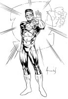 Green Lantern Kyle Scketch ink by UltimateRubberFool