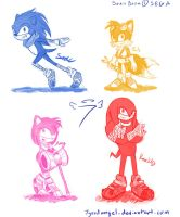 Sonic Boom Character Sketches by 7goodangel