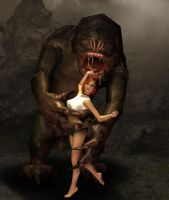 Jessica meets the Rancor1 by GlobtheSpacetoad