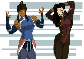Korra and Asami pose-down by Br33zr