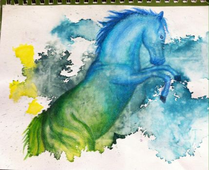 Penciled horse on water color by rosa143