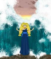 Goddess of Water parting the sea by Mr-Spriken