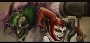 Harley Quinn And Joker Nightmare Version by Baldraven