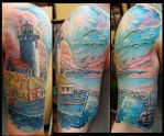 Light house half sleeve by Sean Ambrose by seanspoison