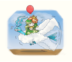 Altaria carrying Lilligant by DaDonYordel