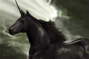 Friesian Unicorn by howlinghorse