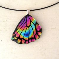Fused Glass Rear Butterfly Wing Necklace Pendant by FusedElegance