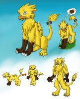 A Study on Chocobo-Gryphs w Zack Cloudstrider by FlamedramonX20