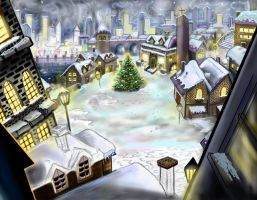 work in progress holiday animation layout by animated-dragon