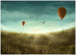 Balloons in a Landscape by Ametystical