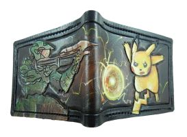 Picachu vrs the master chief leather wallet by Bubblypies