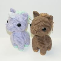 Mauve the Unicorn and Caramel the horse by Heartstringcrochet