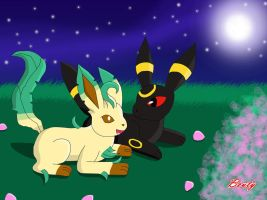 Nightfall: Leafeon and Umbreon by Rose-Beuty