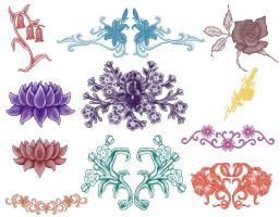 11 Flower brushes by Kribabe-stock