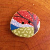 Little Red Tree - Sewing Button by fizzee