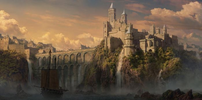 matte painting caslte by shenfeic