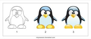 Tux: drawing process by rickymanson