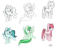 random pony sketches :colored: by Ami-Cat