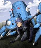 Ghost in the shell, Motoko with Tachikomas by BecciES