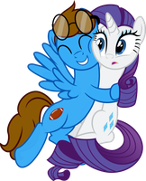 Surpise Hug, Rarity and Blaine (request) by VaderPL