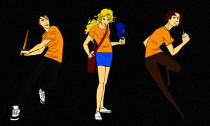 Percy Jackson, Annabeth Chase and Grover Underwood by o0MSK0o